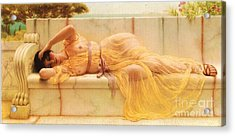 Girl In Yellow Drapery Acrylic Print by Pg Reproductions