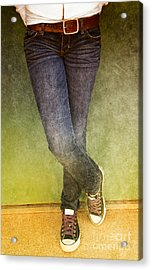 Girl Leaning Against Wall Acrylic Print by Birgit Tyrrell