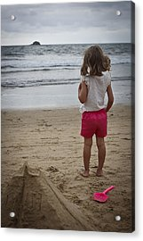 Girl On Beach Acrylic Print by Kevin Barske