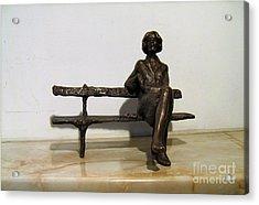 Girl On Bench Acrylic Print by Nikola Litchkov