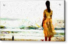 Girl On The Beach Tnm Acrylic Print by Vincent DiNovici