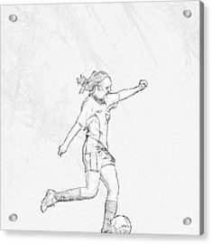 Girl Soccer Player Charcoal Sketch Acrylic Print by Randy Steele