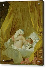 Girl With A Dog Acrylic Print by Jean Honore Fragonard