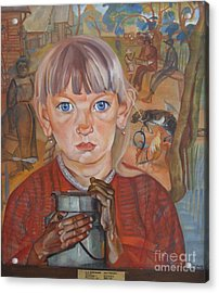 Girl With A Milk Can Acrylic Print by Celestial Images