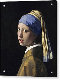 Girl With A Pearl Earring Acrylic Print by Johannes Vermeer
