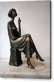 Girl With Bare Breasts Acrylic Print by Nikola Litchkov