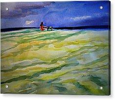 Girl With Dog On The Beach Acrylic Print by Julianne Felton