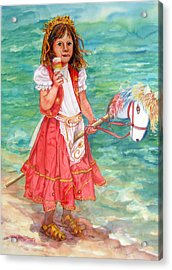 Girl With Wood Horse Acrylic Print by Estela Robles
