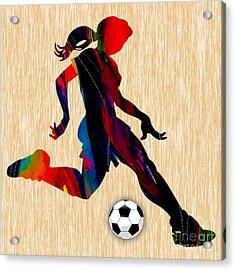 Girls Soccer Acrylic Print by Marvin Blaine