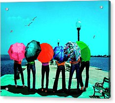 Girls Umbrellas And Sun Acrylic Print by Mario Perez