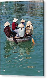 Girls With Conical Hats In Bamboo Acrylic Print by Keren Su