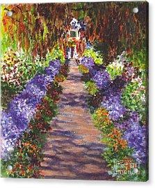 Giverny Gardens Pathway After Monet  Acrylic Print by Carol Wisniewski