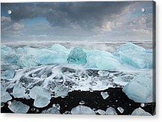 Glacial Ice On Volcanic Beach Acrylic Print by Jeremy Walker