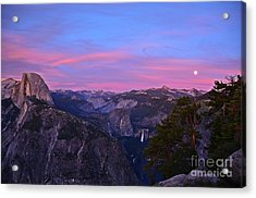 Glacier Point With Sunset And Moonrise Acrylic Print by Cassie Marie Photography