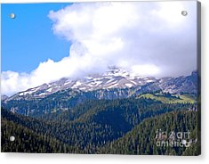 Glaciers In The Clouds. Mt. Rainier National Park Acrylic Print by Connie Fox