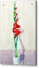 Gladiolas In A Coffee Cup Acrylic Print by Mark Lunde