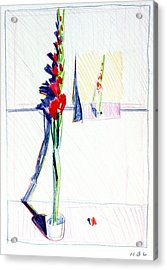Gladiolas Pic. In Pic. Acrylic Print by Mark Lunde
