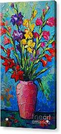 Gladioli In A Vase Acrylic Print by Mona Edulesco