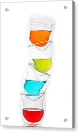 Glass Cups And Colorful Drinking II Liquid Art Acrylic Print by Paul Ge