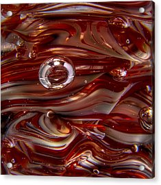Glass Macro Abstract Crimson And Gray Acrylic Print by David Patterson