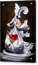 Glass Of Wine With Cork Still Life Acrylic Print by Tom Mc Nemar