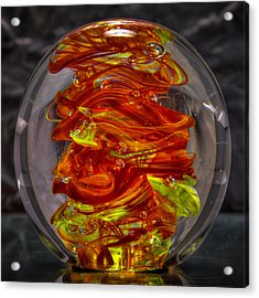 Glass Sculpture - Fire - 13r1 Acrylic Print by David Patterson
