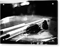 Glasses And Sticks Bw Acrylic Print by Lynda Dawson-Youngclaus