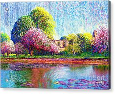 Glastonbury Abbey Lily Pool Acrylic Print by Jane Small
