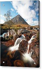 Glen Etive Mountain Waterfall Acrylic Print by Grant Glendinning