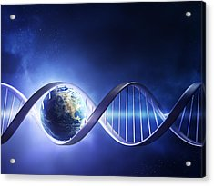Glowing Earth Dna Strand Acrylic Print by Johan Swanepoel