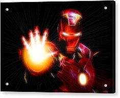 Glowing Iron Man Acrylic Print by Dan Sproul