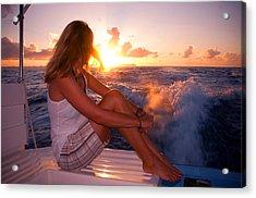 Glowing Sunrise. Greeting New Day  Acrylic Print by Jenny Rainbow
