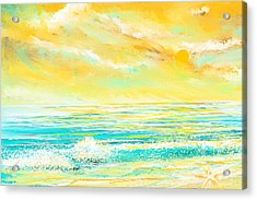 Glowing Waves - Seascapes Sunset Abstract Acrylic Print by Lourry Legarde