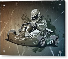 Go-kart Racing Grunge Monochrome Acrylic Print by Frank Ramspott