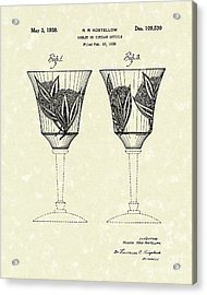 Goblet 1938 Patent Art Acrylic Print by Prior Art Design