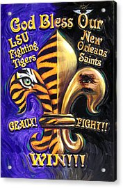 God Bless Our Tigers And Saints Acrylic Print by Mike Roberts