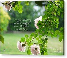God Gave Us Memory Acrylic Print by Avis  Noelle