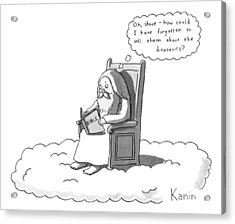 God Is Sitting On A Chair In Heaven Acrylic Print by Zachary Kanin