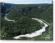 Going Down Ardeche River On Canoe. Ardeche. France Acrylic Print by Bernard Jaubert