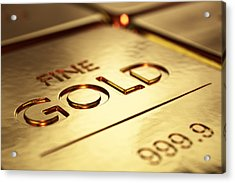 Gold Bars Close-up Acrylic Print by Johan Swanepoel