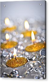 Gold Christmas Candles Acrylic Print by Elena Elisseeva