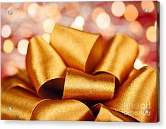 Gold Gift Bow With Festive Lights Acrylic Print by Elena Elisseeva