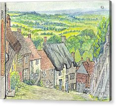 Gold Hill Shaftesbury Dorset England Acrylic Print by Carol Wisniewski