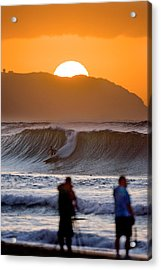 Gold Kaena Sunset Acrylic Print by Sean Davey