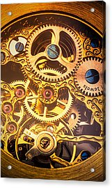 Gold Pocket Watch Gears Acrylic Print by Garry Gay