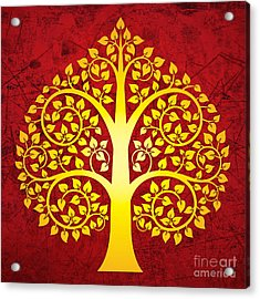 Golden Bodhi Tree No.1 Acrylic Print by Bobbi Freelance