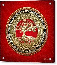 Golden Celtic Tree Of Life  Acrylic Print by Serge Averbukh