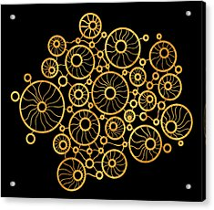 Golden Circles Black Acrylic Print by Frank Tschakert