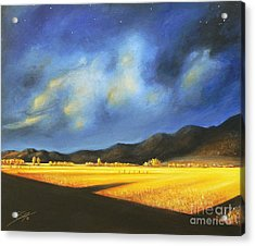 Landscapes Acrylic Print featuring the painting Golden Fields by Susi Galloway