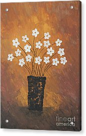 Golden Flowers Acrylic Print by Home Art